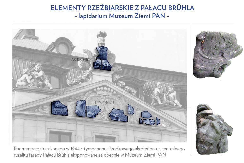 Zachowane elementy Pałacu Brühla